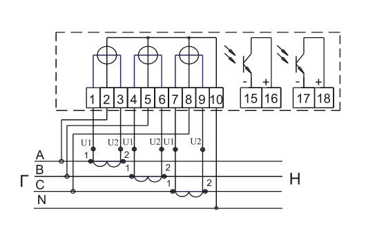 Схема подключения счетчика NIK 2301 АК1 (Харьков)