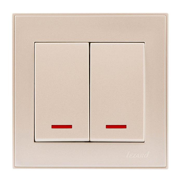 Выключатель двойной с подсветкой жемчужно-белый перламутр, Rain, Lezard