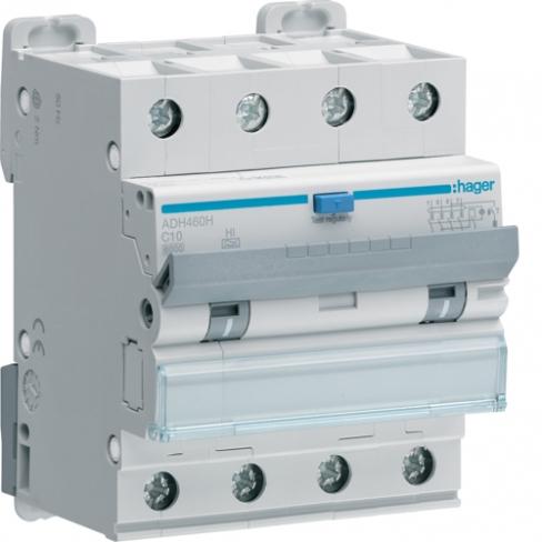 Дифференциальный автоматический выключатель 4P 6kA C-10A 300mA Hi, Hager, AFH460H