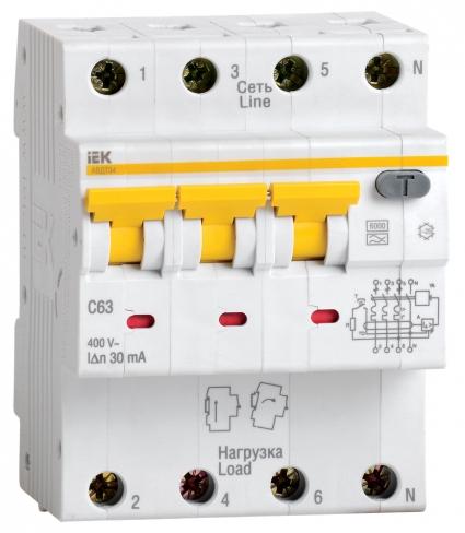 Автоматический выключатель дифференциального тока АВДТ 34 C6 10мА IEK, MAD22-6-006-C-10