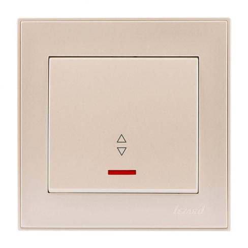 Выключатель проходной с подсветкой жемчужно-белый перламутр, Rain, Lezard