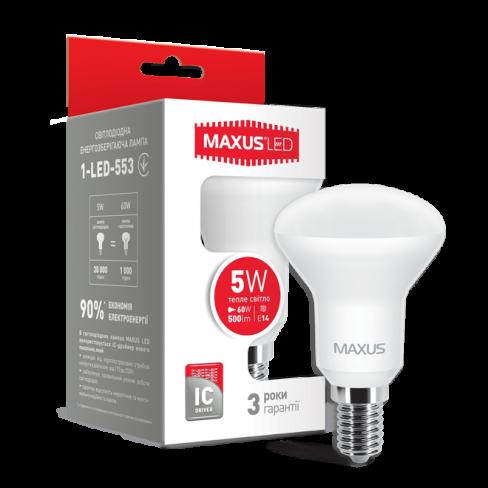 Рефлекторная лампа LED лампа MAXUS R50 5W мягкий свет 220V E14 (1-LED-553) (NEW)