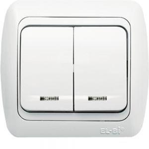 Выключатель с подсветкой 2-кл EL-BI TUNA белый