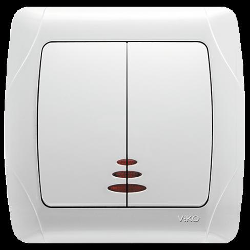 Выключатель 2-клавишный с подсветкой Carmen Viko