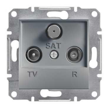 Механизм розетки TV/R/SAT проходной, цвет сталь, Asfora, Schneider Electric