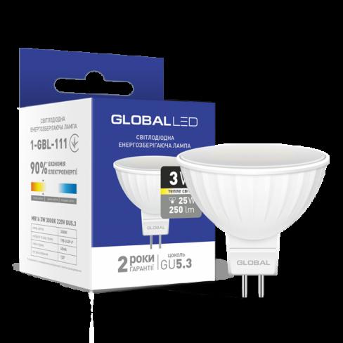 Декоративная лампа LED лампа GLOBAL MR16 3W мягкий свет 220V GU5.3 (1-GBL-111) (NEW)