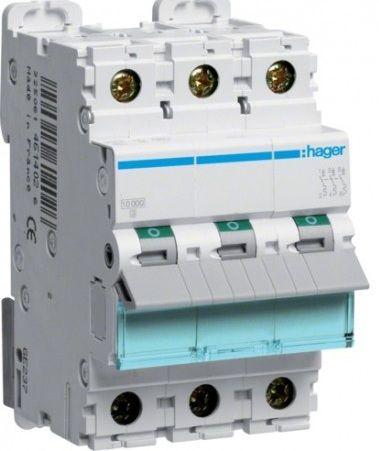 Автоматический выключатель HAGER NSN302 3p 2A, х-ка D, 25кА