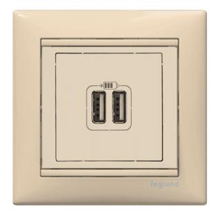Лицевая панель для зарядного устройства USBх2, цвет слоновая кость, Legrand, Valena Life