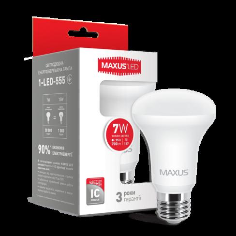 Рефлекторная лампа LED лампа MAXUS R63 7W мягкий свет 220V E27 (1-LED-555) (NEW)