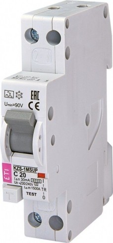 Дифференциальный автоматический выключатель KZS-1M SUP C 10/0,03 тип A (6kA) (верхн. подключ.) 2175722 ETI
