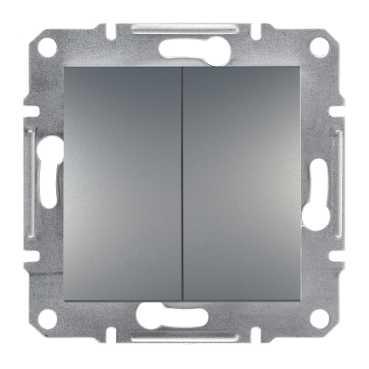 Механизм выключателя 2-клавишного, цвет сталь, Asfora, Schneider Electric