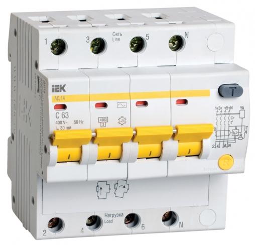 Дифференциальный автомат АД14 4Р 25 А 30 мА IEK, MAD10-4-025-C-030