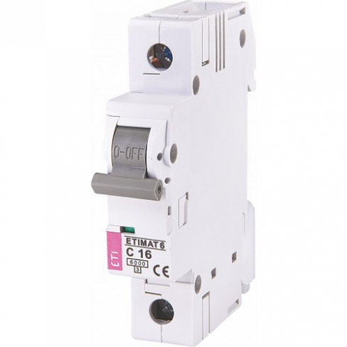 Автоматический выключатель ETIMAT 6 1p C 16А (6 kA), ETI (Словения) 2141516