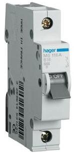 Автоматический выключатель HAGER MB106А 1p 6A, х-ка В, 6кА