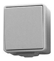 Выключатель 1-тактный серый (б/винт) 10А / 230В IP44 Hager Hermetica