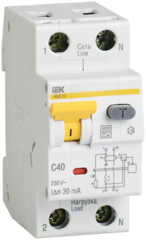 Автоматический выключатель дифференциального тока АВДТ 32 С50 100мА IEK, MAD22-5-050-C-100