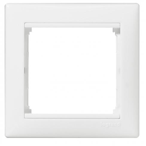 Рамка одинарная горизонтальная белая с боковой вставкой хром, Rain, Lezard