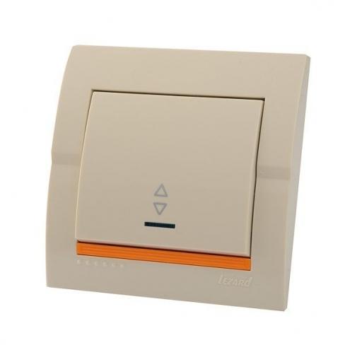 Выключатель 1-кл проходной с подсветкой кремовый Deriy Lezard
