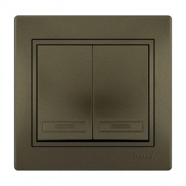 Выключатель 2-кл с подсветкой светло-коричневый MIRA Lezard