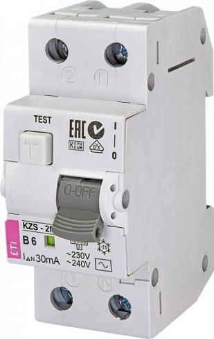 Дифференциальный автоматический выключатель KZS-2M B 6/0,03 тип AC (10kA) 2173101 ETI