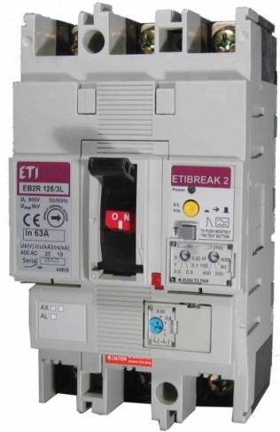Автоматический выключатель со встроенным блоком УЗО EB2R  125/4L 63А 4Р, 4671510, ETI