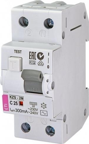 Дифференциальный автоматический выключатель KZS-2M C 10/0,3 тип AC (10kA) 2173322 ETI