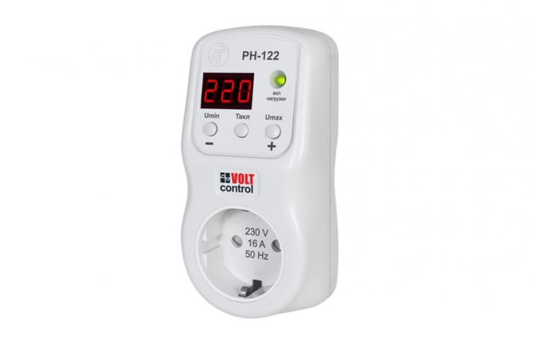 Реле напряжения в розетку РН-122, 16А, 220В, индикация, (кнопочное управление), NovatecElectro