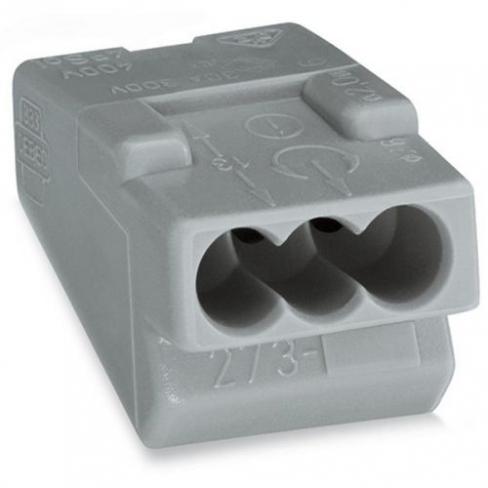 Клеммы для распределительных коробок серии 273 на 3 проводника 1,5-4,0 мм2, с пастой (замена на 773-6*)