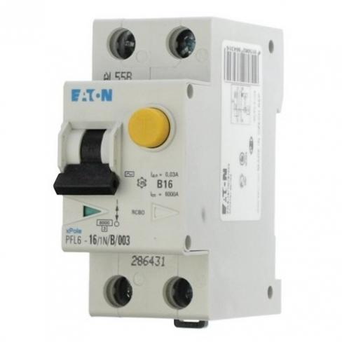 Дифференциальный автомат PFL6 1+N, 13A, 30mA, х-ка С, 6кА, тип AС Eaton | Moeller, 286466