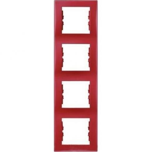Рамка 4 поста, верт. монтаж, цвет Красный, Sedna, Schneider Electric