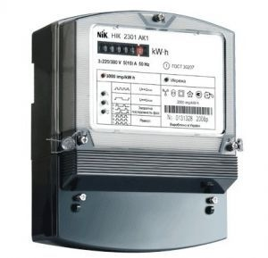 Счетчик НИК 2301 АК1 В 5(10)А, 380В,  3ф, электронный однотарифный