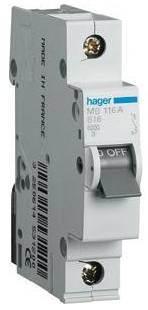 Автоматический выключатель HAGER NSN163 1p 63A, х-ка D, 15кА