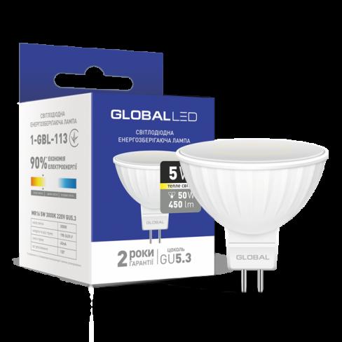Декоративная лампа LED лампа GLOBAL MR16 5W мягкий свет 220V GU5.3 (1-GBL-113) (NEW)