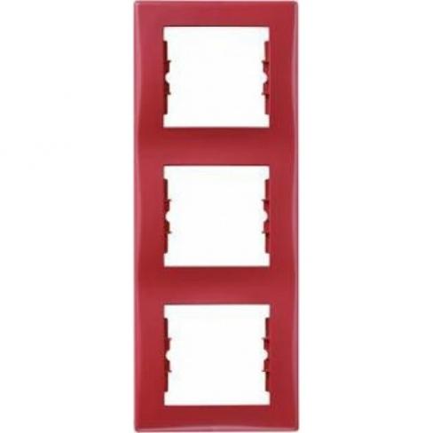 Рамка 3 поста, верт. монтаж, цвет Красный, Sedna, Schneider Electric