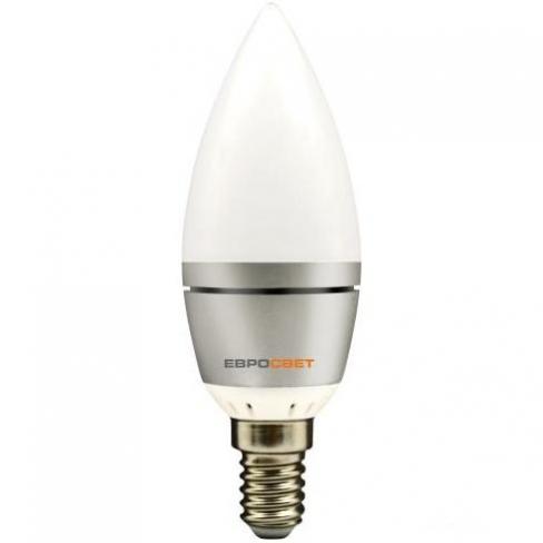 Лампа светодиодная Евросвет свечка С-6-4200-14 6вт 170-240V, Евросвет