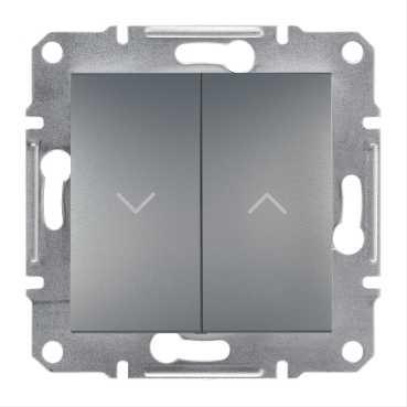Механизм управления жалюзи 2-клавишного, цвет сталь, Asfora, Schneider Electric
