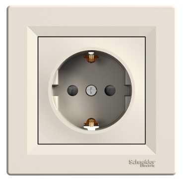 Механизм розетки 2К+З, 16А, немецкий стандарт, со шторками, цвет белый, Asfora, Schneider Electric