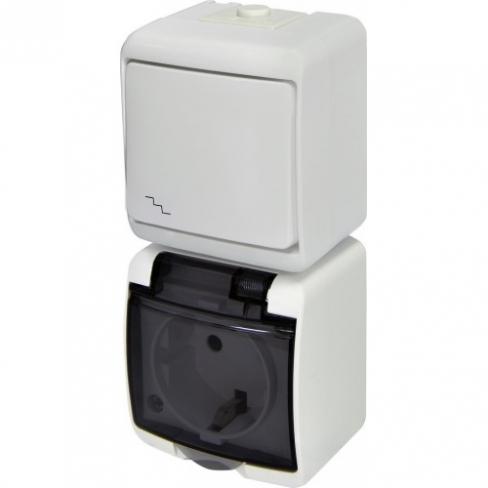 Розетка+выключатель лестничный ETI HERMETICS VRHH-3s Белый 4668035