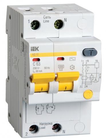 Дифференциальный автомат АД12 2Р 63 А 30 мА IEK, MAD10-2-063-C-030