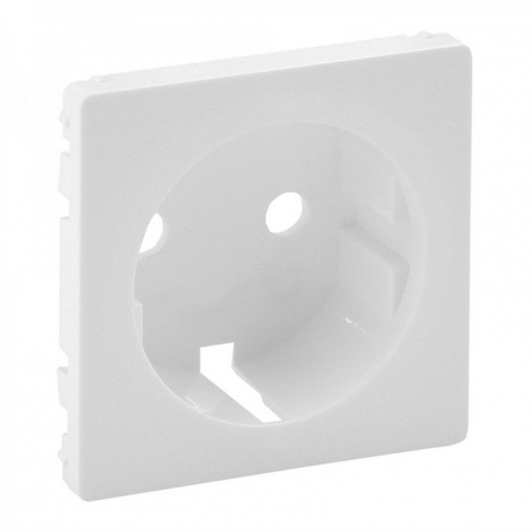 Лицевая панель для розетки 2К+З, 16А, немецкий ст. со шторками, цвет белый, Legrand, Valena Life