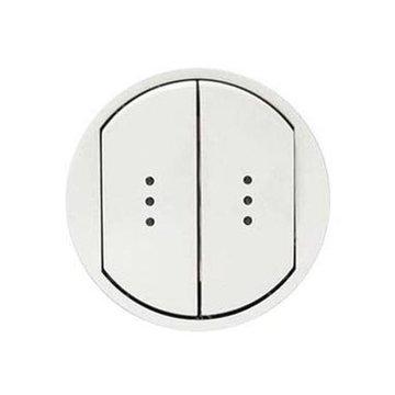 Лицевая панель для выключателя двухклавишного с индикацией (подсветкой), цвет белый, Legrand Celiane