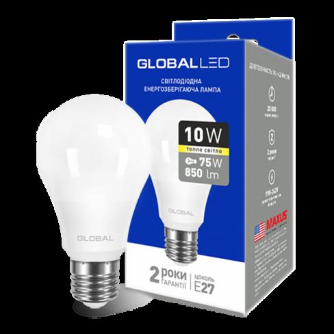 Лампа общего назначения LED лампа GLOBAL A60 10W мягкий свет 220V E27 AL (1-GBL-163) (NEW)