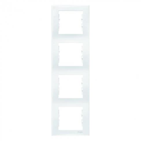 Рамка 4 поста, верт. монтаж, цвет Белый, Sedna, Schneider Electric