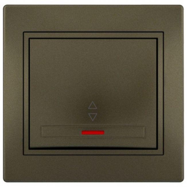 Выключатель 1-кл проходной с подсветкой светло-коричневый MIRA Lezard