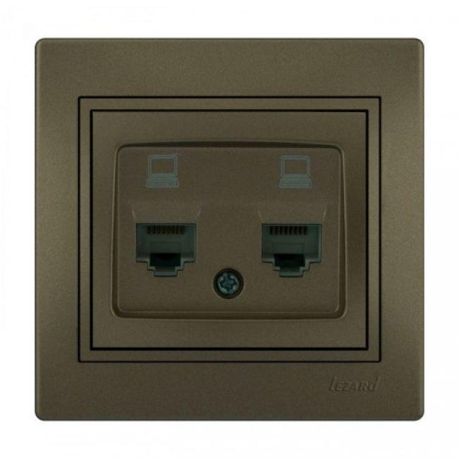 Розетка компьютерная двойная светло-коричневый MIRA Lezard
