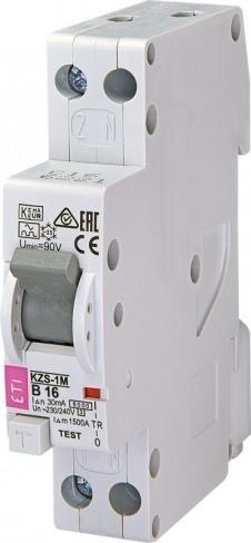 Дифференциальный автоматический выключатель KZS-1M B 6/0,03 тип A (6kA) (нижн. подключ.) 2175201 ETI