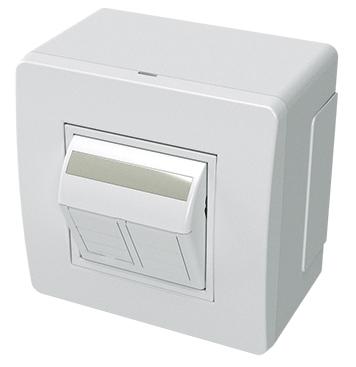 Коробка в сборе с 2 розетками RJ45, кат.5е, Hyperline (телефон/компьютер), белая, DKC