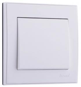 Выключатель одноклавишный 10 A белый с белой вставкой, Rain, Lezard