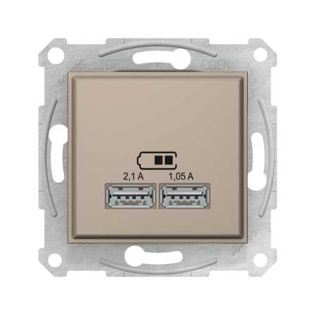USB розетка 2.1A, цвет алюминий, Sedna, Schneider Electric
