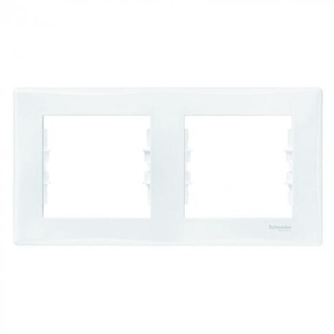 Рамка 2 поста, гориз. монтаж, цвет Белый, Sedna, Schneider Electric